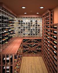 hallway view of glass enclosed cable wine system custom wine