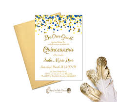 quince invitations beauty and the beast quinceanera invitation blue yellow gold