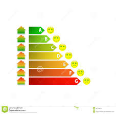 diagram of house energy efficiency rating with cute fingers stock