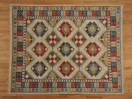 8 u0027 x 10 u0027 ivory geometric design hand knotted afghan ersari