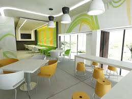 cool family restaurant interior design with orange chair and long