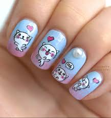 0 79 funny white cat printed nail art water decals transfer