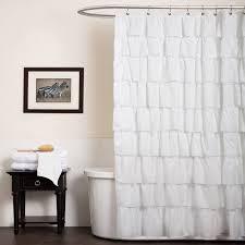 High End Fabric Shower Curtains Bathroom Cotton Ruffle Shower Curtain White Ruffle Shower