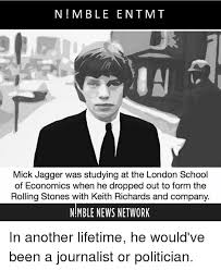 n m ble ent mt mick jagger was studying at the london school of