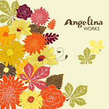 autumn flowers clip art background digital floral clip art
