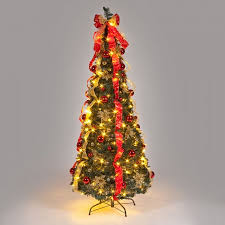 6ft pre decorated pop up tree with warm white leds pop