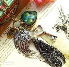 long owl pendant necklace images Wholesale retro owl love heart pendant peacock feather long chain jpg