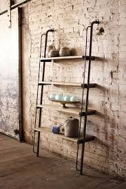 large wood and metal leaning shelving unit chocolate factory