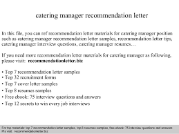 Catering Manager Resume Catering Manager Recommendation Letter