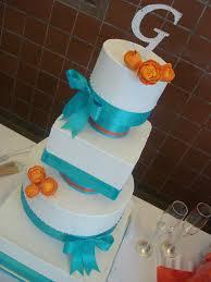turquoise u0026 orange wedding cake multi shaped wedding cake u2026 flickr