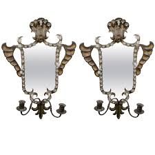 Mirrored Wall Sconce Antique Pair Of Venetian Mirrored Wall Sconces In Hand Wrought