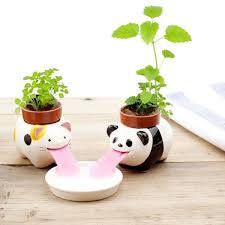 diy mini ceramic animal tougue self watering potted plant home