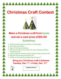 coldwater branch christmas craft contest branch district library
