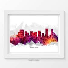 portland oregon skyline poster portland cityscape portland