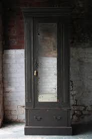 armoire linen cupboard pretty antique edwardian grey painted combination wardrobe