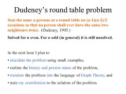 round table number of seats dudeney s round table problem ppt download