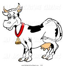 vector agriculture clipart of a happy black and white dairy cow