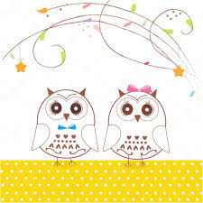 newborn twins baby with owl baby shower greeting card vector