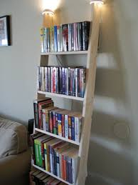 rustic wooden ladder bookshelf with top lights part of furniture