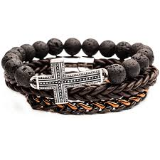 beads with cross bracelet images The tenet cross bracelet stack in steel brown leather and lava beads png