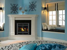 warm home interiors decorations magnificent corner fireplace design in turquoise