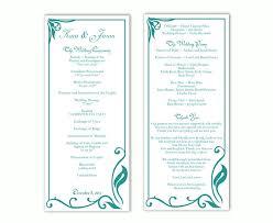 Free Sample Wedding Programs Templates Wedding Program Template Diy Editable Text Word File Download
