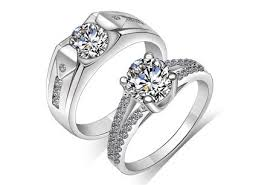 engagement rings for couples matching sterling silver wedding rings cubic zirconia engagement