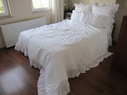 all white full queen duvet cover ruffled lace eyelet elegant shabby chic wedding bedding sets 5 pcs with euro sham and ruffle lace pillow