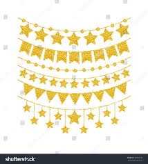 Decorative Holiday Flags Holiday Gold Garland Set Isolated On Stock Vector 540265156