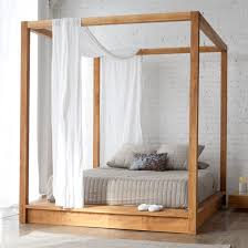 bedroom exclusive contemporary wooden canopy grey bed pillow