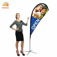 Standing Flag Banners Cheap Advertising Beach Feather Teardrop Flag Banner With Flexible