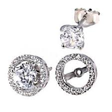 earring jacket 6mm russian cz studs with removable halo earring