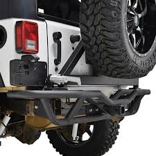 jeep rear bumper 07 16 jeep wrangler jk tube rear bumper black w tire carrier