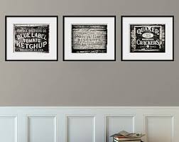 Kitchen Decor Set of 3 Rustic Prints Kitchen Art Set of 3 Black
