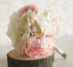 Shabby Chic Bridal Bouquet by Silk Bride Bouquet Peony Flowers Peonies Shabby Chic Wedding