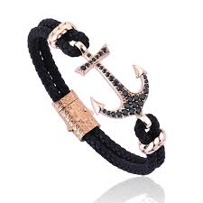 leather bracelet with anchor images Atolyestone mens bracelets anchor nappa leather bracelet rose jpg