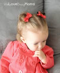 adorable hair for little girls half up pigtails with little bow