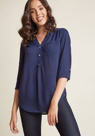 navy blouse pam ly sleeve tunic in navy modcloth