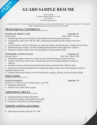 Sample Resume Security Guard by Security Resume Event Security Guard Resume Template In Pdf