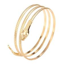 new arrival fashion style gold plated alloy snake shape vintage gold plated alloy snake wrap bracelet bangle for women