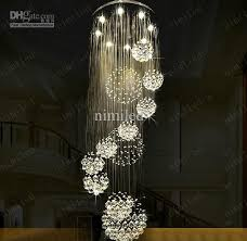 hanging a chandelier dia 80xh220cm led crystal light modern spiral staircase ls