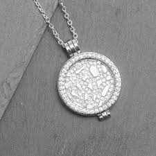 silver coin pendant necklace images Pave locket necklace gift for her by lhg designs jpg