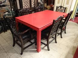 lacquered linen chinese dining table with 6 chinese
