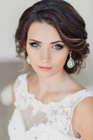 dark brown hair color on long hair bridal makeup for blue eyes and dark hair