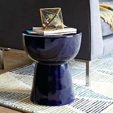 Navy Side Table Navy Coffee Table Cozy Rectangle Farmhouse Fabric And Wood Blue