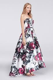 new style strapless sweetheart neckline high low floral satin prom