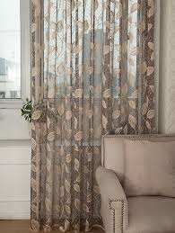 Custom Sheer Drapes Taupe Jacquard Net Sheer Curtain Voile Panel One Custom Made