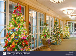 a row of trees decorated with crafted ornaments line