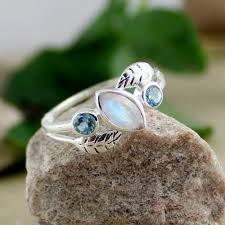 Gift For Wife Moonstone Topaz Ring Blue Topaz Rainbow Moonstone Leaf Discovered