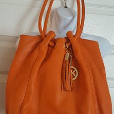 michael kors okpta519426 bright orange beach bag on sale 73 off